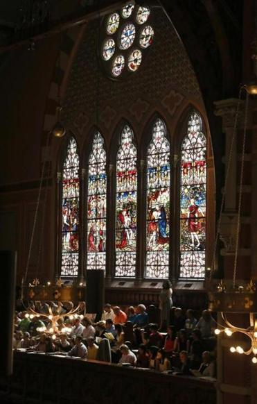 The stained glass windows at Old South Church could be darkened if a proposed tower is built at Back Bay Station.